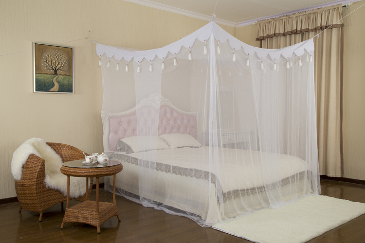 Elegant Square Top Bed Canopy Crown Mosquito Nets for Double Bed