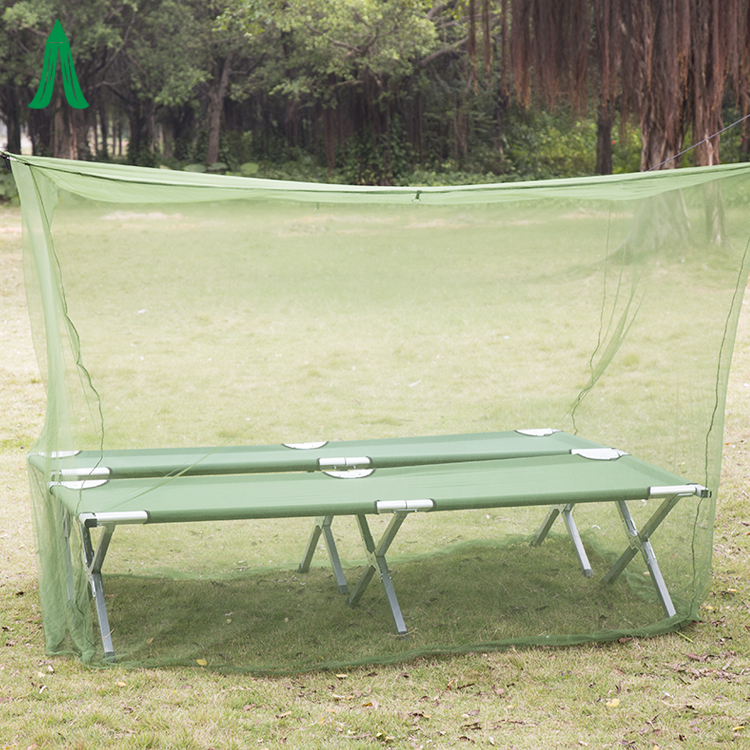 Green Custom Outdoor Travel Camping Tent Mosquito Net With Border