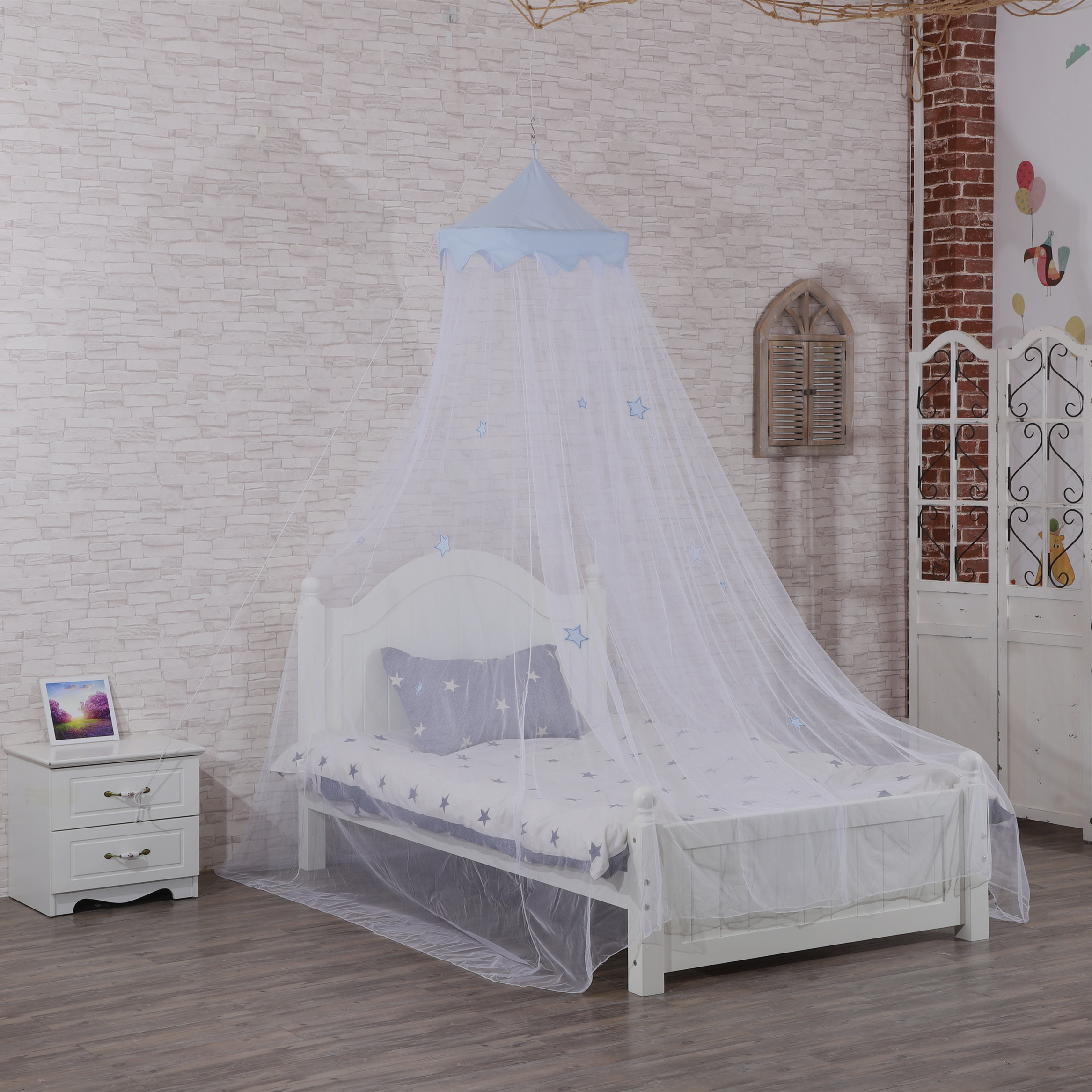 New Style China Manufacturer Made Blue Star Patch 100% Polyester Mesh Bed Netting For Boy Hanging Mosquito Net For Babies