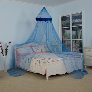 100% Polyester Mesh Blue Conical Canopy Velvet Star Lace Design Children Mosquito Net