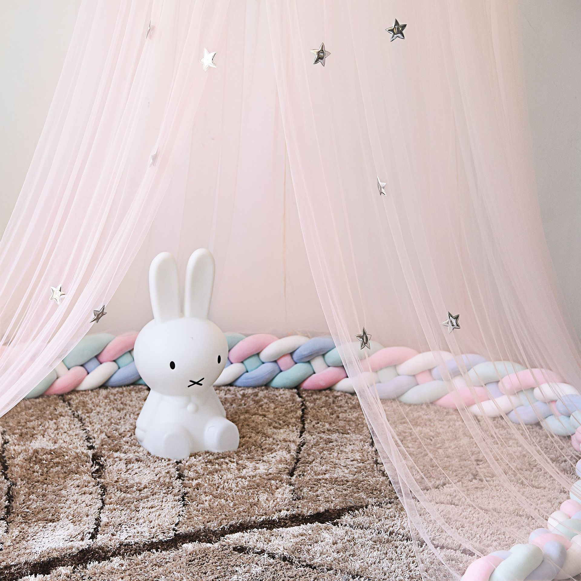 Bed canopy with feather stars decoration mosquito net for children room