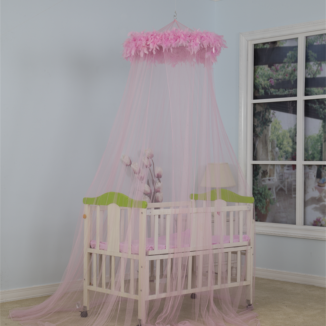 New Design Round Mosquito Net Baby anti-insects Canopy with Feather