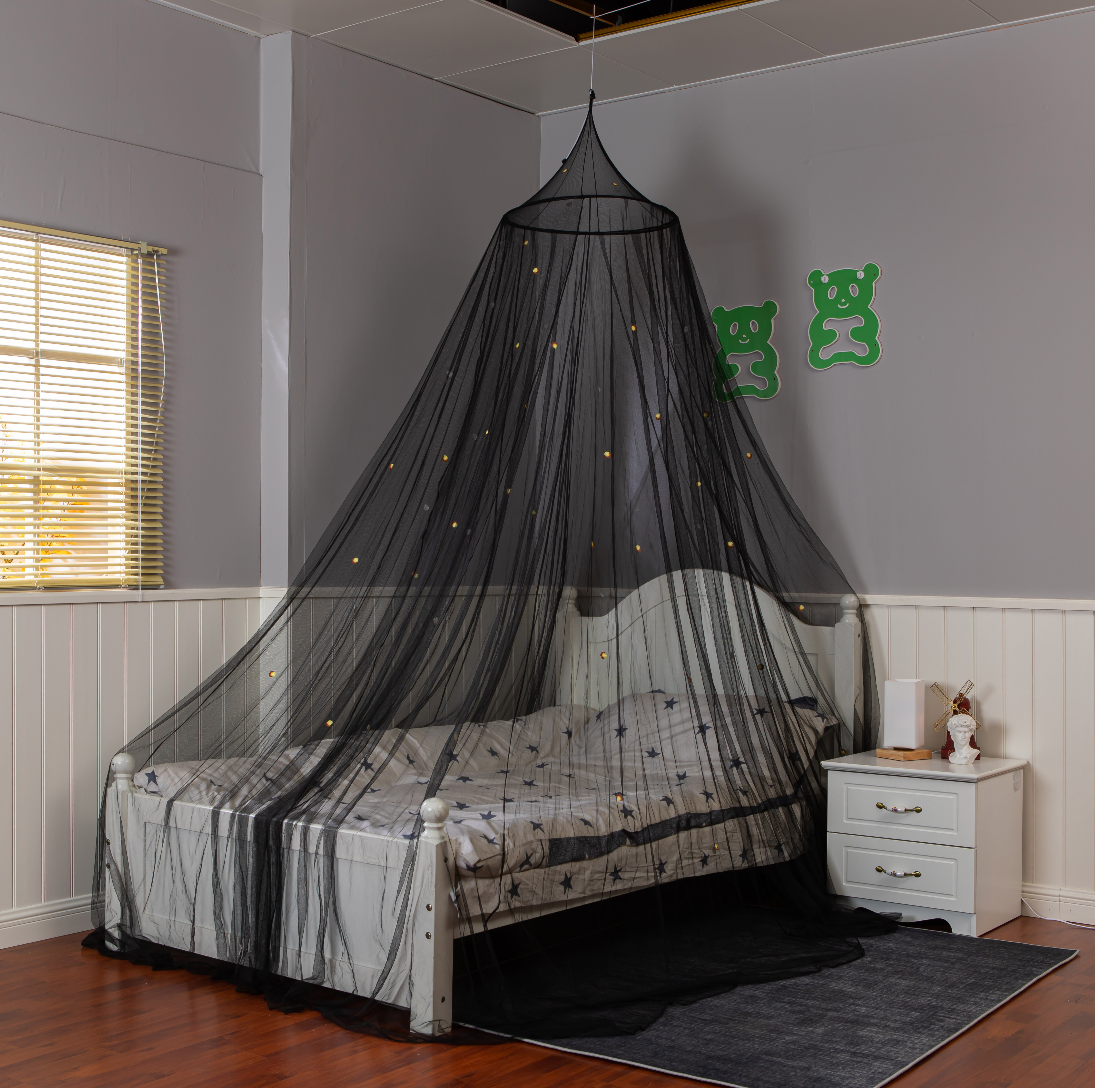 Hanging Easy Set Up Growing In The Dark Firefly Concial Black Mosquito Net Bed Canopy