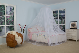 White Dome Mosquito Net Easy Installation Hanging Bed Canopy Netting
