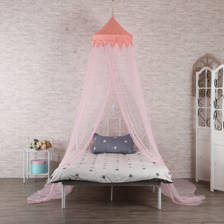 2020 New Product Conical Mosquito Nets Pink Bed Canopy with Cotton Balls