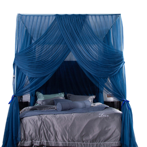 2020 High-end Luxury Palace Floor Three-door Encryption Indoor Room Decoration King Size Bed Square Mosquito Net
