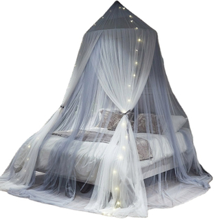 New Design Grey White Led Lights Glowing Decoration Mosquito Bed Nets For Double Bed
