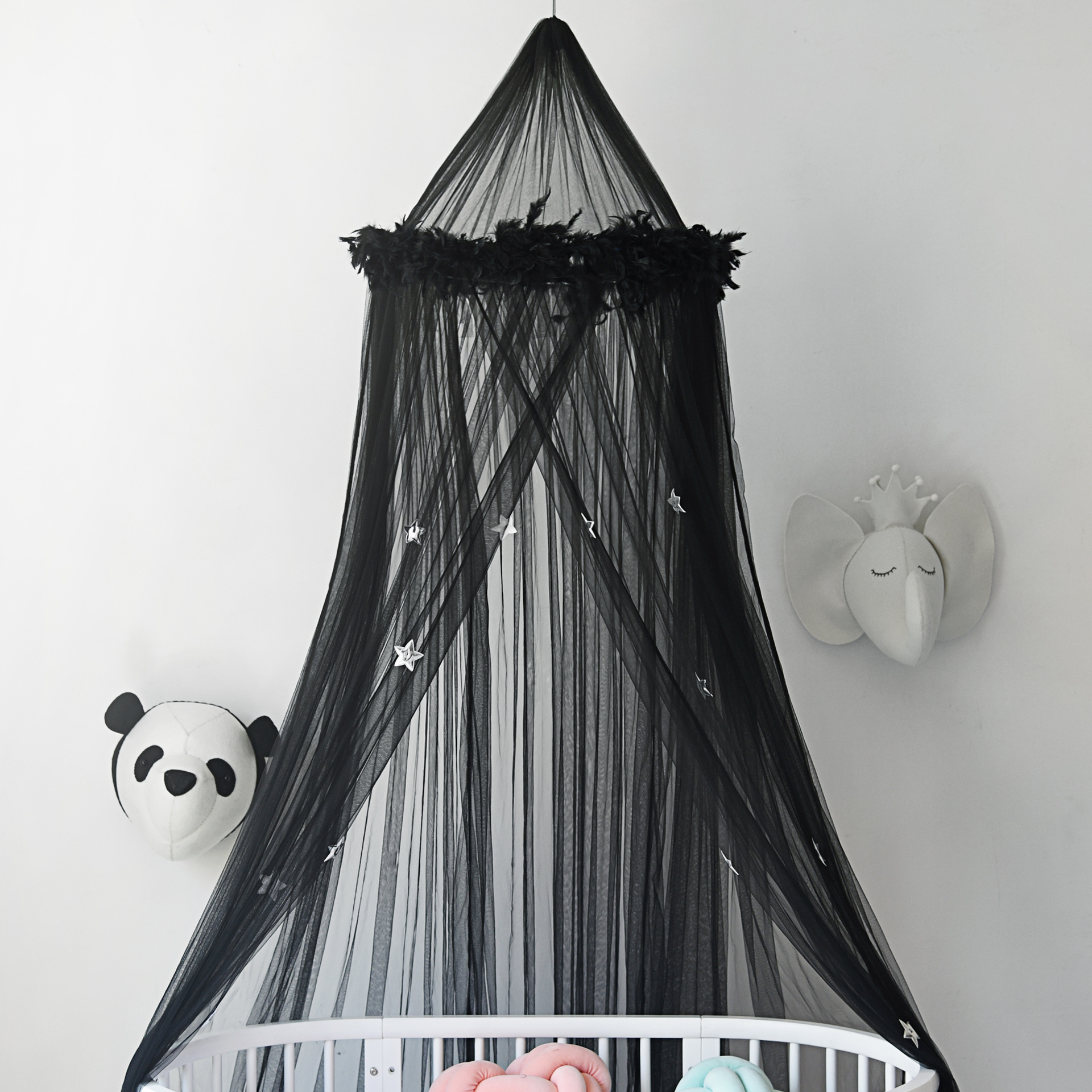 Bed canopy with light luxury ceiling mosquito net for children room dome feather stars decoration mosquito net