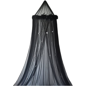 Princess Girls Hanging Mosquito Net Star Decor Bed Canopy with Feather