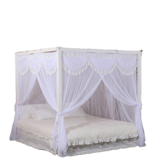 New Design Polyester White Mosquito Nets Square Beds Canopy for Double Bed