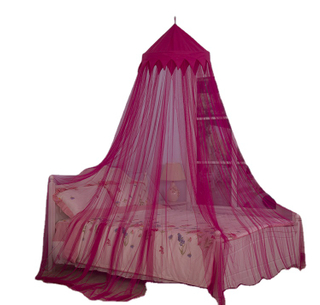 2020 Fashion Design Crown Decor Bright Rose Red Hanging Mesh Mosquito Net