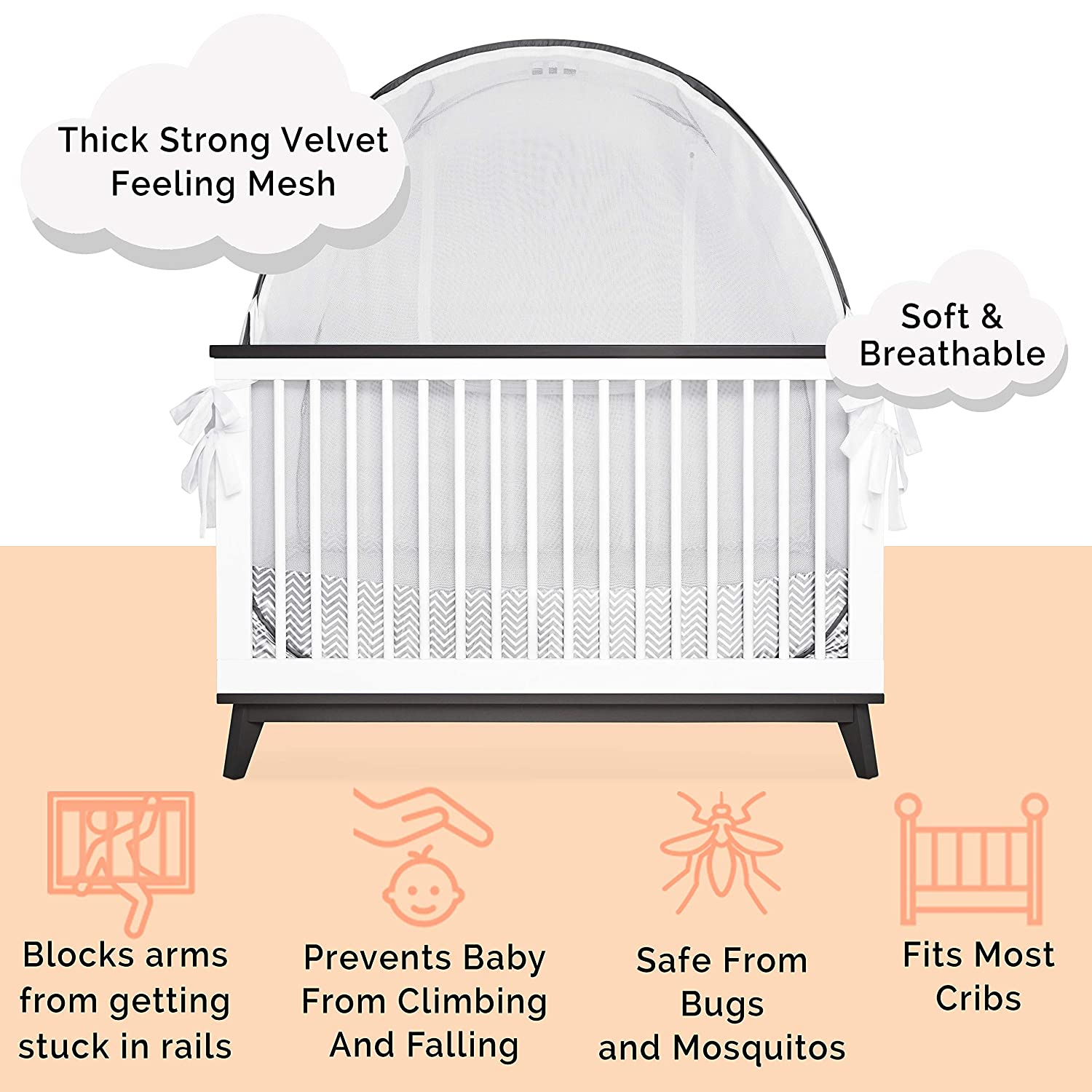 Baby Safety Crib Bed Canopy Cover Infant Pop up Tents with Viewing Window