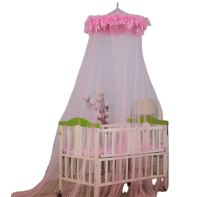 2020 most popular Pinky Princess Baby Bed Protected Mosquito Net with feather