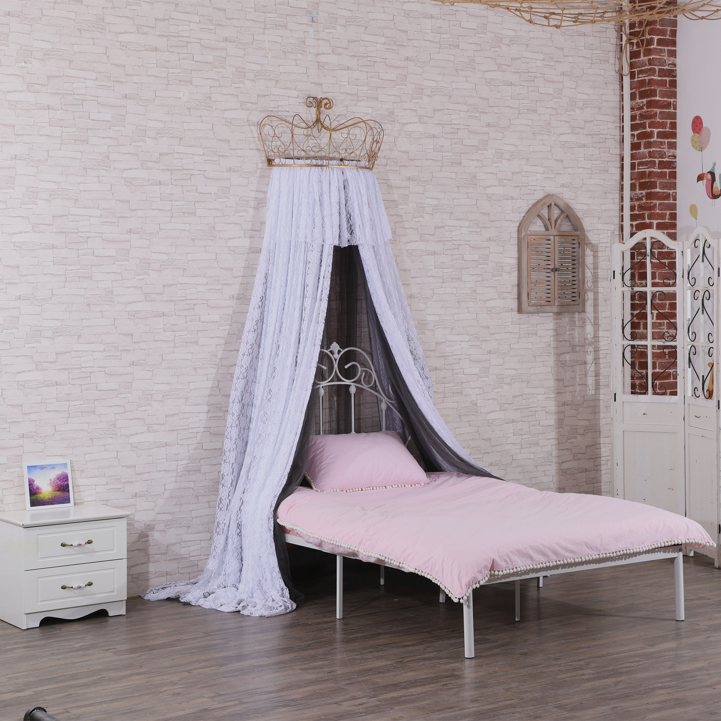 Latest Design Princess Crown Top Mosquito Nets Lace Bed Curtains