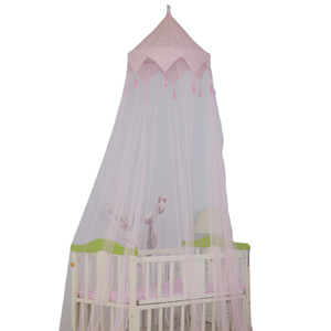 2020 Hot Sale Cute Style Pink Tassel Decor Baby Crib Conopy Mosquito Net