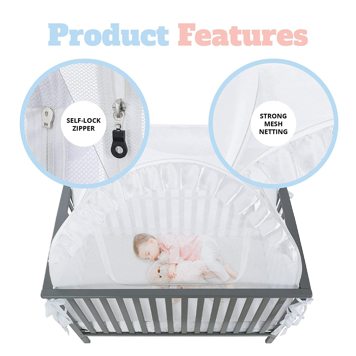 Pop-up Unisex Infant Crib Tent Baby Bed Canopy Netting Cover Net